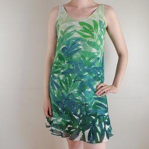 Cabi green tropical mini dress with ruffle